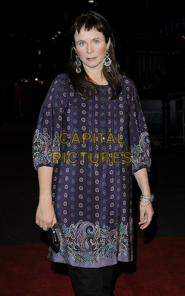 "EMILY WATSON.Attends the Times BFI 53rd London Film Festival Gala Screening of ""Cold Souls"" at Vue West End cinema, Leicester Square, London, England, .October 18th 2009..half length purple print tunic dress paisley black trousers .CAP/CAN.©Can Nguyen/Capital Pictures"