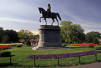 AJ3511, Boston, Boston Common, park, Massachusetts, Equestrian statue of George Washington in the Boston Common (oldest public park in America) in the spring in Boston in the state of Massachusetts.