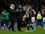 Steve Bruce manager of Newcastle United wanders onto the pitch to talk to Isaac Hayden of Newcastle United during the Premier League match at Villa Park, Birmingham. Picture date: 25th November 2019. Picture credit should read: Darren Staples/Sportimage