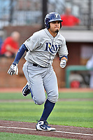 Princeton Rays designated hitter Jonathan Aranda (17) runs to first base during a game against the Johnson City Cardinals at TVA Credit Union Ballpark on August 9, 2018 in Johnson City, Tennessee. The Rays defeated the Cardinals 10-2. (Tony Farlow/Four Seam Images)