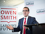 © Joel Goodman - 07973 332324 . SUBMIT PHOTO . MANCHESTER EVENING NEWS ONLY - NO SYNDICATION PERMITTED . 15/08/2016 . Salford , UK . Labour leadership candidate OWEN SMITH delivers a speech on the National Health Service , at the Mary Seacole Building at Salford University . Photo credit : Joel Goodman
