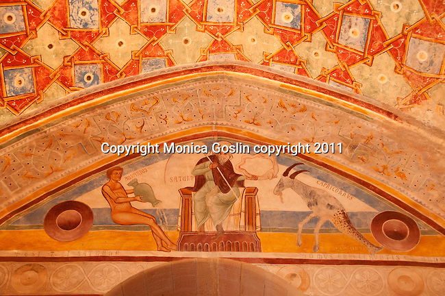 A detail of frescos in the Rocca di Angera, the castle of Angera, a town on Lake Maggiore, Italy. The Rocca di Angera has five areas built from the 12th to 14th centuries and belongs to the Visconti family, although it is a museum and tourist attraction