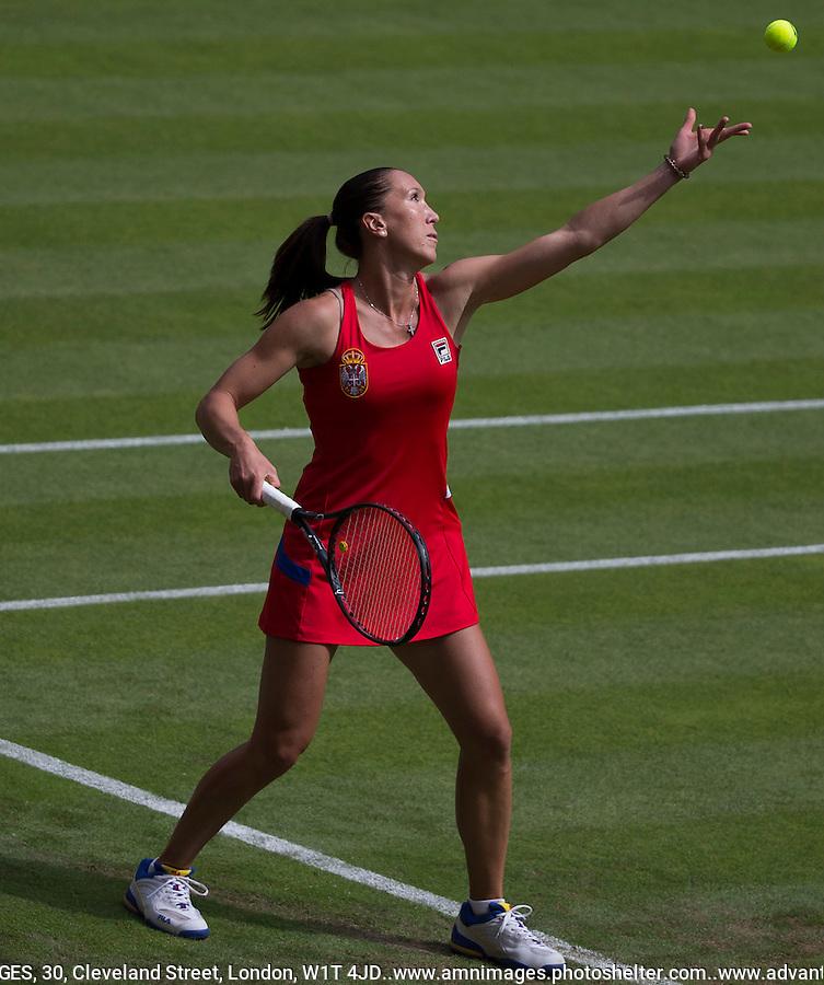Jelena Jankovic - Serbia..Tennis - OLympic Games -Olympic Tennis -  London 2012 -  Wimbledon - AELTC - The All England Club - London - Saturday 28th June  2012. .© AMN Images, 30, Cleveland Street, London, W1T 4JD.Tel - +44 20 7907 6387.mfrey@advantagemedianet.com.www.amnimages.photoshelter.com.www.advantagemedianet.com.www.tennishead.net