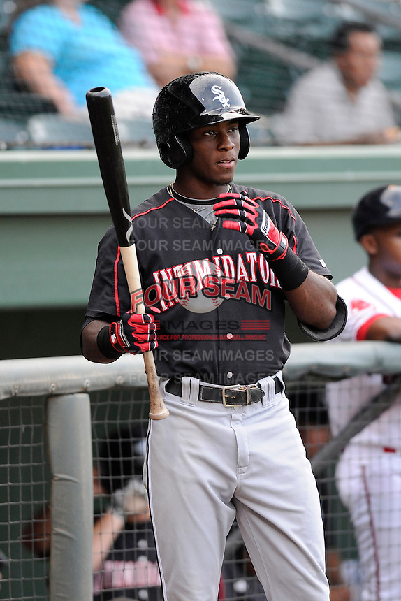 Shortstop Tim Anderson (2) of the Kannapolis Intimidators in a game against the Greenville Drive on Monday, August 5, 2013, at Fluor Field at the West End in Greenville, South Carolina. Anderson was a first-round pick by the Chicago White Sox in the 2013 First-Year Player Draft. Kannapolis won, 3-0. (Tom Priddy/Four Seam Images)