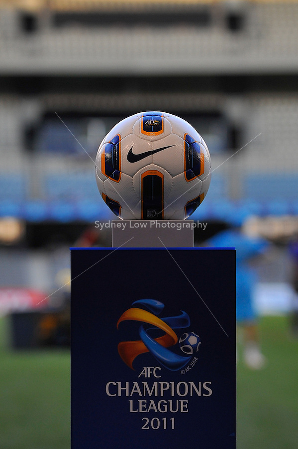 The official match ball on display before the AFC Champions League Group E match between the Melbourne Victory and Jeju United at Etihad Stadium in Melbourne, Australia.