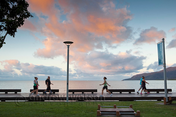 The Esplanade boardwalk at dusk.  Cairns, Queensland, Australia