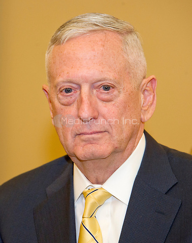 """Retired United States Marine Corps General James N. """"Mad Dog"""" Mattis, US President-elect Donald J. Trump's selection to be US Secretary of Defense, as he met with US Senate Majority Leader Mitch McConnell (Republican of Kentucky) in his office in the US Capitol in Washington, DC on Wednesday, December 7, 2016.<br /> Credit: Ron Sachs / CNP /MediaPunch"""
