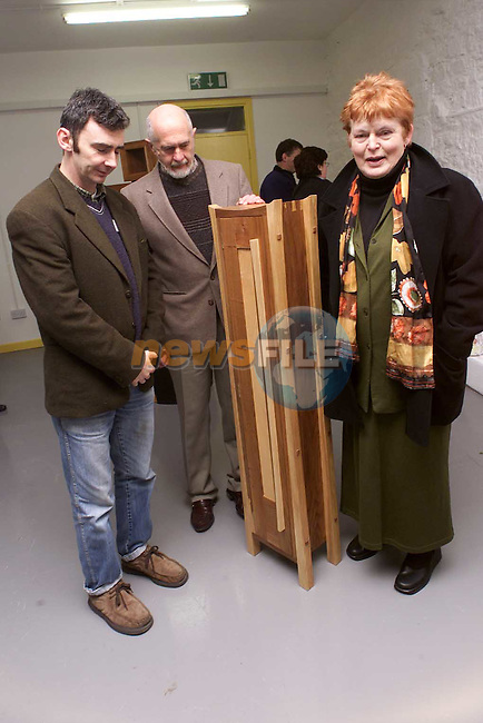 Tony Conaghy with Brian and Phil Conyngham at the sculpture exhibition in the Workspace centre..Picture: Paul Mohan/Newsfile