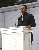 "Washington, DC - January 18, 2009 -- Tiger Woods speaks at the ""We Are One"", the Obama Inaugural Celebration at the Lincoln Memorial on Sunday, January 18, 2009.  .Credit: Dennis Brack - Pool via CNP"