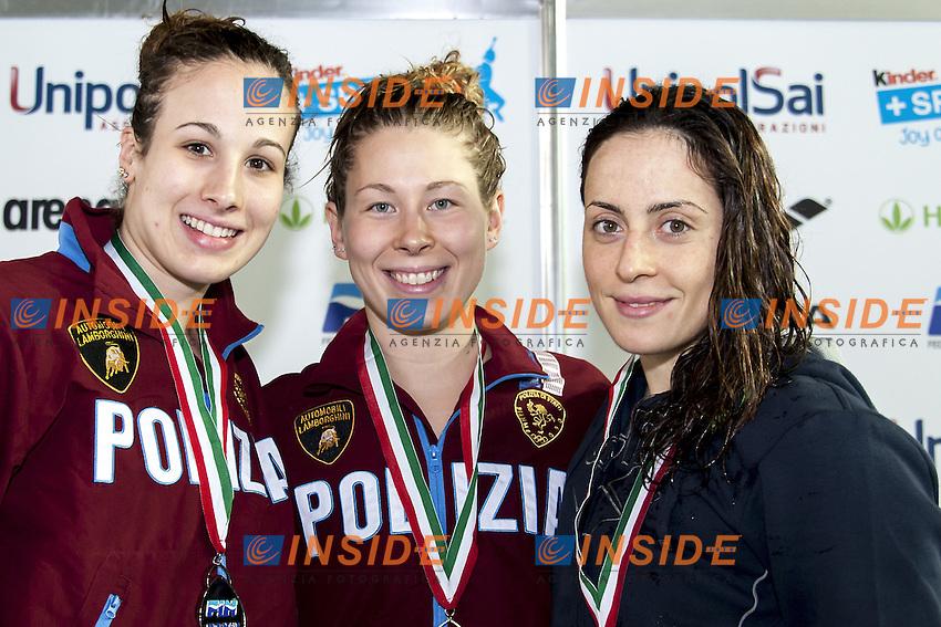 400 Misti Donne (da sx a dx) TROMBETTI Luisa FFOO; PIROZZI Stefania FFOO; POLIERI Alessia FFGG<br /> Day03 Finali - 400 Misti Donne<br /> Campionati Italiani Assoluti Nuoto Primaverili Fin UnipolSai<br /> Riccione Italy 14-18/04/2015<br /> Photo Giorgio Scala/Deepbluemedia/Insidefoto