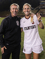 Santa Clara, CA - September 22, 2013:  Head Coach Paul Ratcliff congratulates Courtney Verloo after her hat trick in Stanford's 3-2 double overtime victory over Santa Clara at Buck Shaw Stadium, Santa Clara.