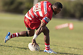 Sunia Vosikata dots down for Karaka's second try. Counties Manukau Premier 1 Club Rugby game between Karaka and Waiuku, played at the Karaka Sports Park on Saturday May 11th 2019. Karaka won the game 33 - 14 after leading 14 - 7 at halftime.<br /> Photo by Richard Spranger.