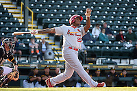 Palm Beach Cardinals first baseman David Washington (26) hits a home run during a game against the Bradenton Marauders on April 9, 2014 at McKechnie Field in Bradenton, Florida.  Palm Beach defeated Bradenton 3-1.  (Mike Janes/Four Seam Images)