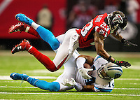 Photography of the Carolina Panthers v. the Atlanta Falcons at the Georgia Dome in Atlanta, GA.<br /> <br /> Charlotte Photographer - PatrickSchneiderPhoto.com