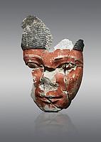 Ancient Egyptian statue head of a monarch, limestone, Middle Kingdom, mid 12th Dynasty, (1900-1850 BC), Qqw el-Kebir, tomb of Ibu. Egyptian Museum, Cat 4410 Turin. Grey Background.