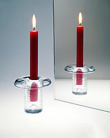 CANDLE REFLECTION IN MIRROR<br /> Angle of incidence equals angle of reflection<br /> A virtual image is formed in the mirror.