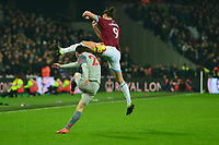 Andy Carroll of West Ham United blocks the ball during West Ham United vs Liverpool, Premier League Football at The London Stadium on 4th February 2019