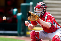 Austin Jarvis (17) of the Bradley Braves catches a pitch prior to a game against the Missouri State Bears on May 13, 2011 at Hammons Field in Springfield, Missouri.  Photo By David Welker/Four Seam Images