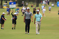 Adam Scott (AUS) and Nick Flanagan (AUS) on the 3rd fairway during Round 4 of the Australian PGA Championship at  RACV Royal Pines Resort, Gold Coast, Queensland, Australia. 22/12/2019.<br /> Picture Thos Caffrey / Golffile.ie<br /> <br /> All photo usage must carry mandatory copyright credit (© Golffile   Thos Caffrey)