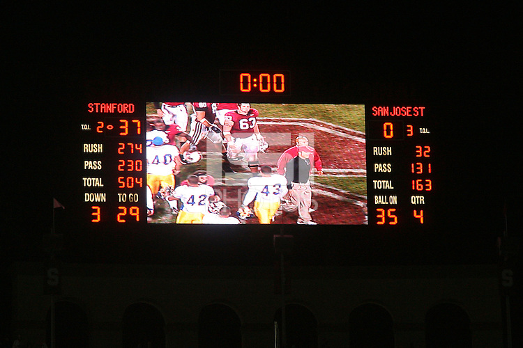 15 September 2007: The scoreboard after Stanford's 37-0 win over San Jose State at Stanford Stadium in Stanford, CA.