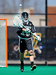 3 April 2010: Binghamton University Bearcats' Goalie Dan Solazzo, a Junior from Yorktown Heights, NY, in action against the University of Vermont Catamounts at Moulton Winder Field in Burlington, Vermont. The Catamounts defeated the visiting Bearcats 11-8 in Vermont's opening home game of the 2010 season. Mandatory Credit: Ed Wolfstein Photo