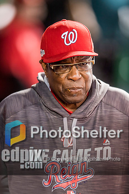 14 October 2016: Washington Nationals Manager Dusty Baker walks down the dugout during Game 5 of the NLDS against the Los Angeles Dodgers at Nationals Park in Washington, DC. The Dodgers edged out the Nationals 4-3, to take Game 5 of the Series, 3 games to 2, and move on to the National League Championship Series against the Chicago Cubs. Mandatory Credit: Ed Wolfstein Photo *** RAW (NEF) Image File Available ***