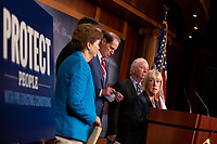 United States Senator Patty Murray (Democrat of Washington), joined by United States Senator Jeanne Shaheen (Democrat of New Hampshire), United States Senator Mark Warner (Democrat of Virginia), United States Senator Ron Wyden (Democrat of Oregon), and United States Senator Ben Cardin (Democrat of Maryland) discusses saving pre-existing condition protections in the health care system during a press conference on Capitol Hill in Washington D.C., U.S. on July 31, 2019.<br /> <br /> Credit: Stefani Reynolds / CNP/AdMedia