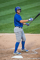 John Andreoli (6) of the Iowa Cubs at bat against the Salt Lake Bees in Pacific Coast League action at Smith's Ballpark on August 21, 2015 in Salt Lake City, Utah. The Bees defeated the Cubs 12-8.  (Stephen Smith/Four Seam Images)
