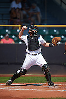 Clinton LumberKings catcher Adam Martin (27) throws down to second during a game against the Great Lakes Loons on August 16, 2015 at Ashford University Field in Clinton, Iowa.  Great Lakes defeated Clinton 3-2.  (Mike Janes/Four Seam Images)