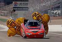 Apr 9, 2006; Las Vegas, NV, USA; NHRA Funny Car driver Gary Densham slows to a stop during the first round of eliminations at the Summitracing.com Nationals at Las Vegas Motor Speedway in Las Vegas, NV. Mandatory Credit: Mark J. Rebilas