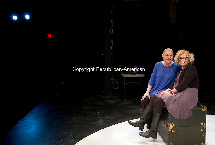 """Waterbury, CT- 12 January 2016-011216CM08- April Woodall, left, will play Elizabeth Petruccione, seated at right in """"Born Fat"""" starting on Friday, January 15 at Seven Angels Theatre in Waterbury.  The show is written by Jacques Lamarre and directed by Steve Ginsburg.  Christopher Massa Republican-American"""