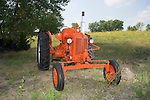 Propane powered model DC Case tractor, flambeau orange, early 1948