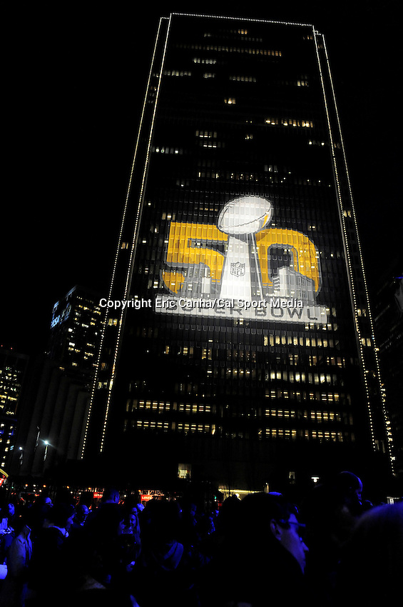 Wednesday, February 3, 2016:  Buildings along the waterfront are decorated and lit up in San Francisco, California during the National Football League week long opening celebrations for Super Bowl 50 between the Carolina Panthers and the Denver Broncos . Eric Canha/CSM