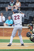 Daniel Pinero (22) of the Virginia Cavaliers at bat against the Wake Forest Demon Deacons at Wake Forest Baseball Park on May 17, 2014 in Winston-Salem, North Carolina.  The Demon Deacons defeated the Cavaliers 4-3.  (Brian Westerholt/Four Seam Images)