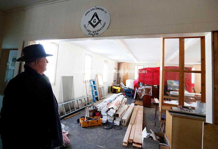Woodbury, CT- 13 February 2015-021315CM05-<br /> Wayne Anderson, president of the King Solomon's Temple Organization talks about the renovation project inside King Solomon's Lodge No. 7 in Woodbury on Friday. The social hall, shown here, is one of the renovation projects that has begun at the lodge.  Christopher Massa Republican-American