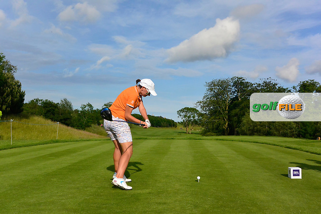 Charlotte Thomas on the 12th tee during the Saturday Afternoon Fourballs of the 2016 Curtis Cup at Dun Laoghaire Golf Club on Saturday 11th June 2016.<br /> Picture:  Golffile | Thos Caffrey