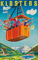 BNPS.co.uk (01202 558833)<br /> Pic: Lyon&Turnbull/BNPS<br /> <br /> Pictured: A vintage poster advertising Klosters in Switzerland sold for £938 <br /> <br /> A stunning set of vintage ski posters depicting the halcyon days of European winter holidays have sold for over £116,000.<br /> <br /> They featured early lithograph prints of advertising posters for glamorous resorts including Champery and Gstaad.<br /> <br /> The earliest posters in the sale dated from the turn of the 20th century, with the most recent examples from the 1960s.<br /> <br /> As transport links improved in the 1920s and '30s, skiing holidays grew in popularity.