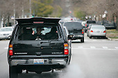 Chicago, IL - November 22, 2008 -- Security behind United States President-Elect Barack Obama's motorcade as he returns to his home in the Hyde Park neighborhood of Chicago after his morning workout nearby, , Saturday, November 22, 2008..Credit: Anne Ryan - Pool via CNP