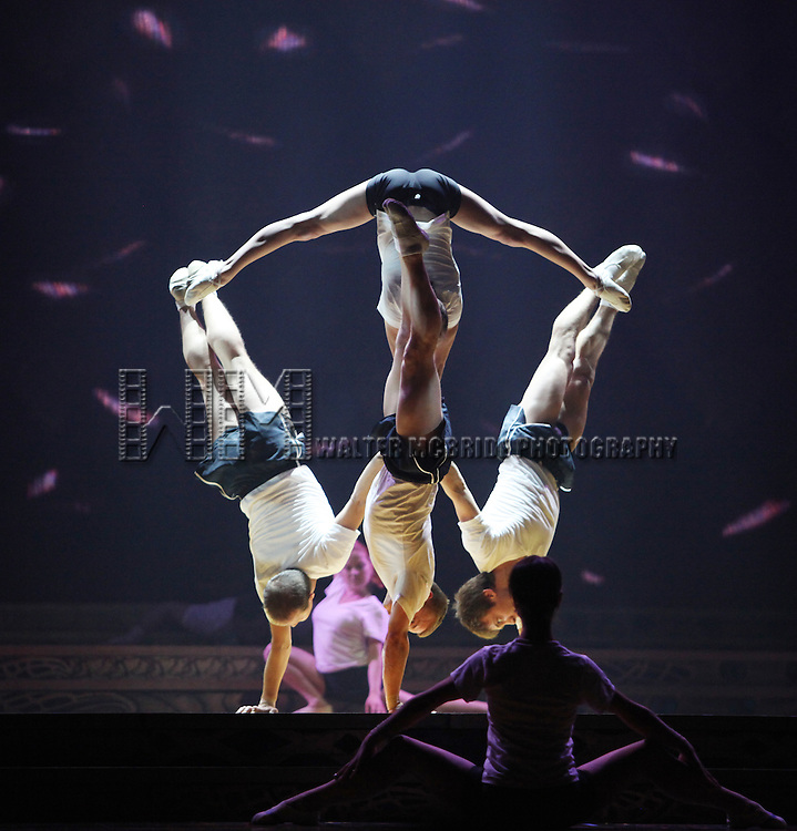 Cast Members during the Cirque Du Soleil 'Zarkana' Rehearsal for 'Banquine' at Radio City in New York City.