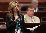 Nevada Assemblywoman Melissa Woodbury, R-Las Vegas, speaks on the Assembly floor at the Legislature in Carson City, Nev. on Friday, Feb. 25, 2011..Photo by Cathleen Allison