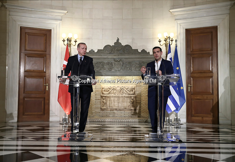 Pictured: Turkey president Recep Tayyip Erdogan and Prime Minister Alexis Tsipras hold a press conference<br /> Re: Turkey's president Recep Tayyip Erdogan has begun a landmark visit to Greece. Thursday 07 December 2017
