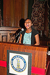 January 11, 2012 - Brooklyn, New York, USA: Sheimyrah Mighty, 13-year-old Jamaican Haitian American, sings National Anthem at 2nd Annual Interfaith Memorial Service for Haiti, Wednesday night at Brooklyn Borough Hall. The service was held two years after the Mw 7.0 earthquake at Haiti.