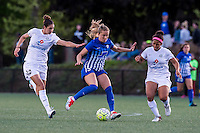 Allston, MA - Sunday, May 22, 2016: FC Kansas City midfielder Yael Averbuch (10), Boston Breakers midfielder Kristie Mewis (19) and FC Kansas City midfielder Desiree Scott (3) during a regular season National Women's Soccer League (NWSL) match at Jordan Field.