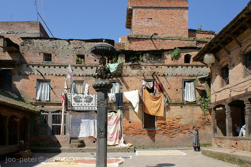 houses in Bhaktapur, Nepal, October 2011.The picture shows typical architecture and atmosphere in  middle age city Bhaktapur city, Kathmandu valley, Nepal.
