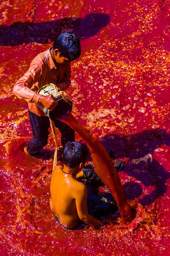 Boys playing in water at Huranga Holi; Holi Festival, Dauji Temple, Badeo (near Mathura), Uttar Pradesh, India.