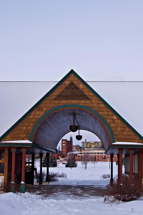 Downtown Marquette Michigan in winter.
