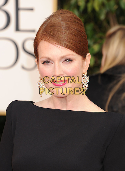 Julianne Moore.Arrivals at the 70th Annual Golden Globe Awards held at the Beverly Hilton Hotel, Hollywood, California, USA..January 13th, 2013.globes headshot portrait black diamond earrings pink lipstick hair up.CAP/GAG.©GAG/Capital Pictures
