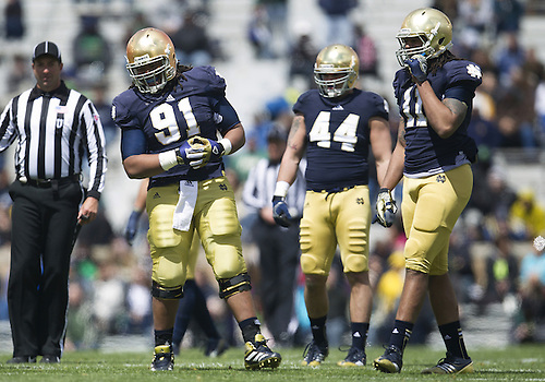 April 20, 2013: Notre Dame Fighting Irish defensive lineman Sheldon Day (91) and Notre Dame Fighting Irish outside linebacker Ishaq Williams (11) during the Notre Dame Blue-Gold Spring game at Notre Dame Stadium in South Bend, Indiana.  The Defense topped the Offense by a score of 54-43.