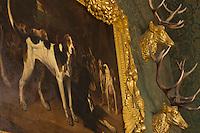 Europe/France/Centre/41/Loir-et-Cher/Sologne/ Chambord: Château de Chambord - Salle des Chasses - Détail tableau: Le Relancé par Louis-Godefroy Jadin -  Musée de la Chasse  // France, Loir et Cher, Loire Valley listed as World Heritage by UNESCO, Chateau de Chambord - Chambord's Hunting and Nature Museum, painting détail