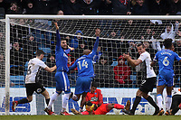 Gillingham players claim the ball has crossed the line and appeal for a goal, but referee, Mr Andy Davies, waved play on during Gillingham vs Peterborough United, Sky Bet EFL League 1 Football at the MEMS Priestfield Stadium on 10th February 2018